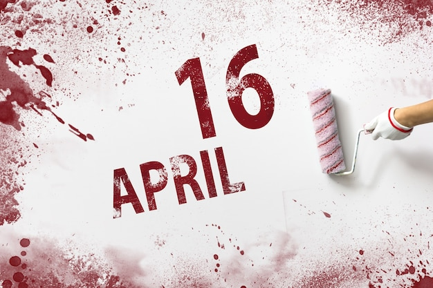 16 kwietnia. 16 dzień miesiąca, data kalendarzowa. ręka trzyma wałek z czerwoną farbą i pisze datę w kalendarzu na białym tle. miesiąc wiosny, koncepcja dnia roku.