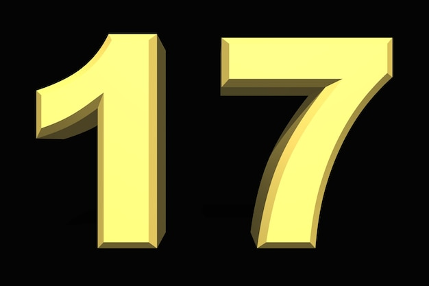 17 siedemnaście cyfr 3d niebieski na ciemnym tle