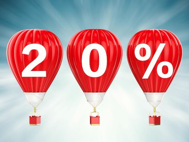 20% znak sprzedaży na renderowaniu 3d czerwonych balonów na gorące powietrze