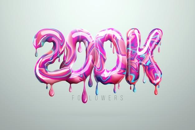 200 tys. zwolenników podpisuje się w postaci pysznych cukierków, topiących się słodyczy. dziękuję 200 000 obserwujących kreatywne tło. nowoczesny design, abstrakcyjny szablon, plakat, ulotka. ilustracja 3d, renderowanie 3d.