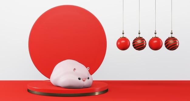 2020 chiński nowy rok. śliczny szczur na podium na kolorowym okręgu. rok szczura