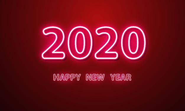 2020 kartkę z życzeniami szczęśliwego nowego roku z efektem neon
