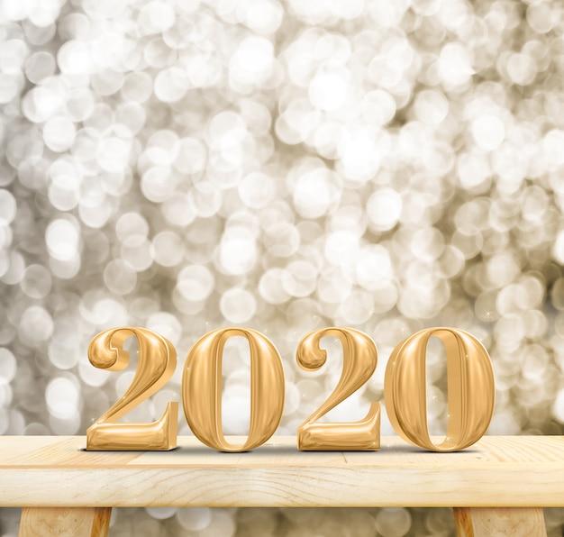 2020 szczęśliwego nowego roku drewna numer na stole z drewna z błyszczącą złotą ścianą bokeh
