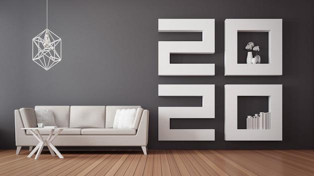 2020 szczęśliwego nowego roku wnętrze salonu / wnętrze renderowania 3d