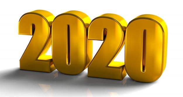 2020 złote pogrubione litery wysokiej jakości renderowania 3d na białym tle