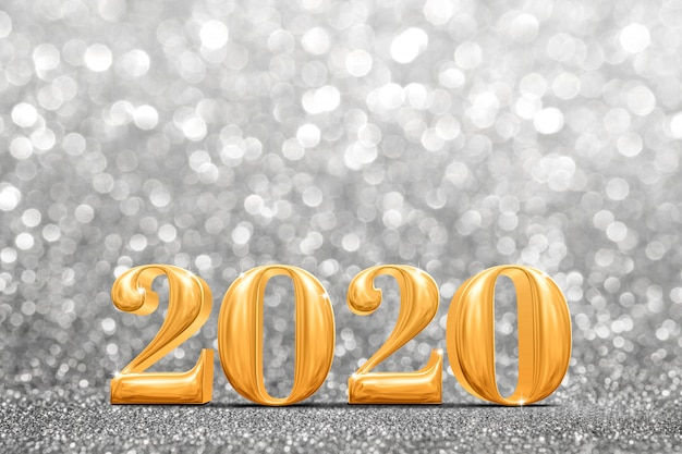 2020 złotych nowych lat w abstrakcyjnym błyszczącym jasnym srebrnym brokacie