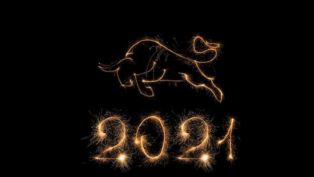 2021 chiński nowy rok z życzeniami szczęśliwego nowego roku 2021. uroczystości czarne tło z wół.