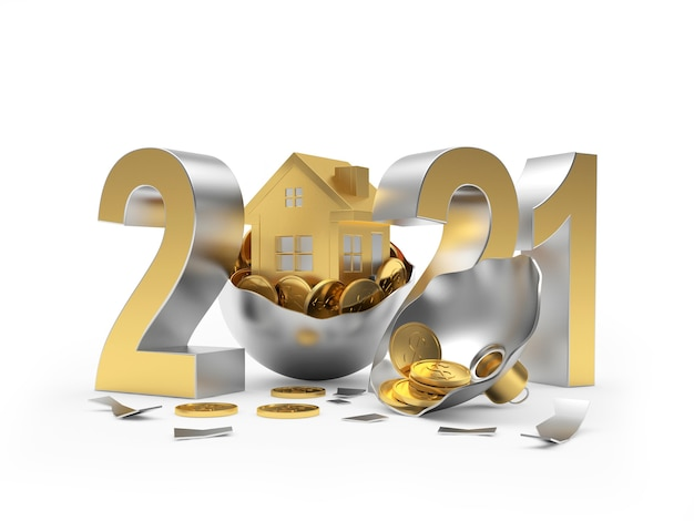 2021 i ikona domu na zepsutej bombce z monetami