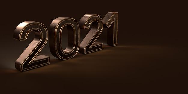 2021 nowy rok banner renderowania 3d