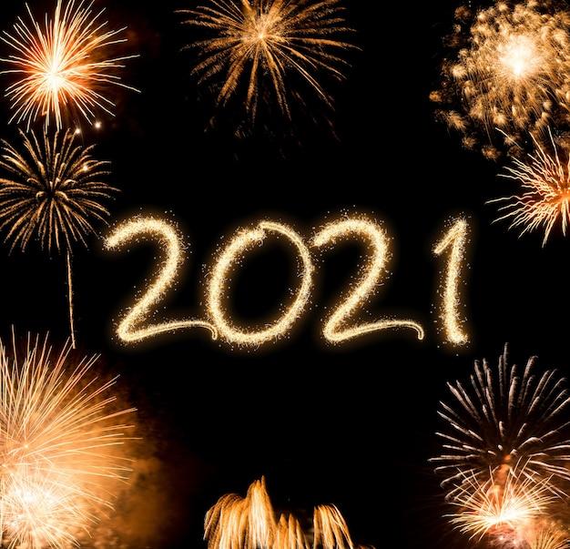 2021 nowy rok fajerwerki kolorowe tło