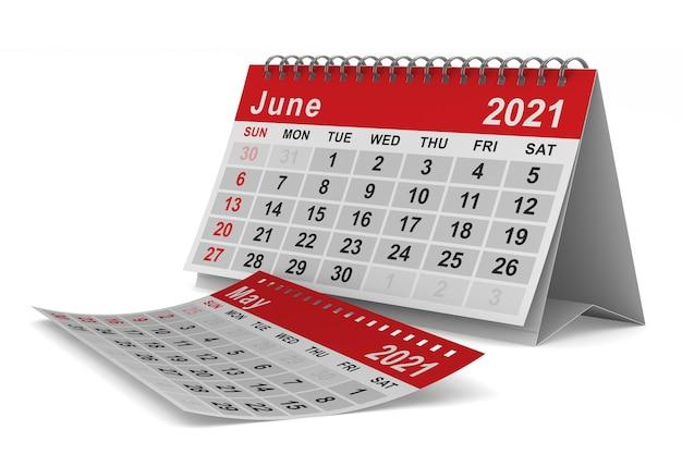 2021 rok. kalendarz na czerwiec. ilustracja na białym tle 3d