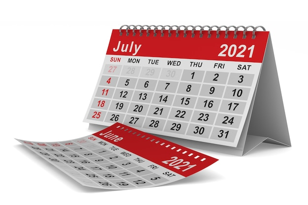 2021 rok. kalendarz na lipiec. ilustracja na białym tle 3d