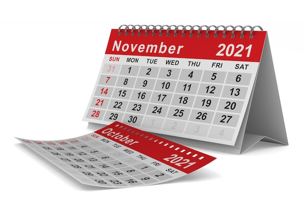 2021 rok. kalendarz na listopad. ilustracja na białym tle 3d