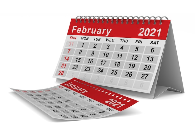 2021 rok. kalendarz na luty. ilustracja na białym tle 3d