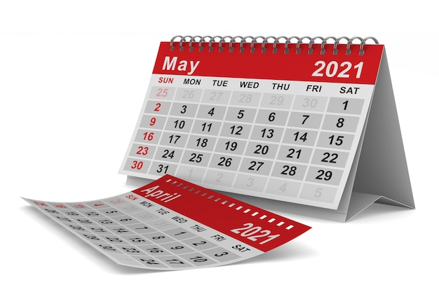2021 rok. kalendarz na maj. ilustracja na białym tle 3d