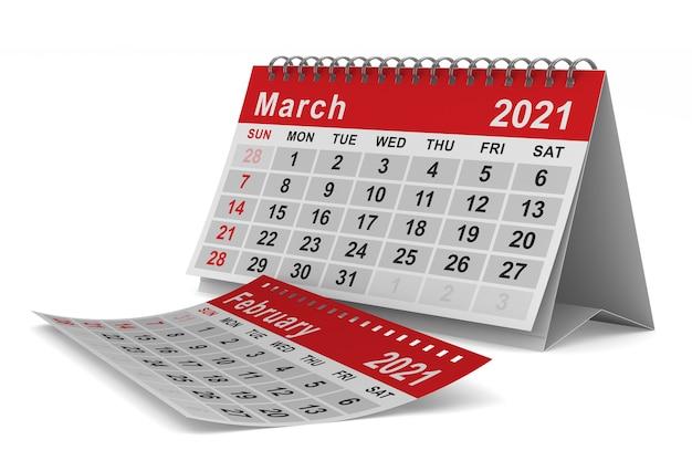 2021 rok. kalendarz na marzec. ilustracja na białym tle 3d