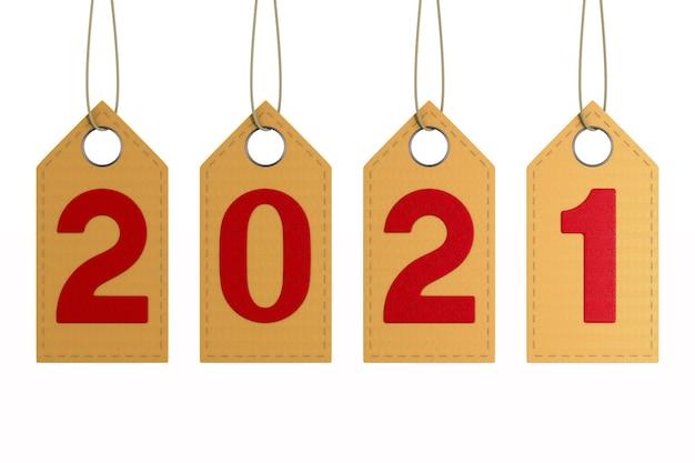 2021 skórzana etykieta na białym tle. ilustracja na białym tle 3d