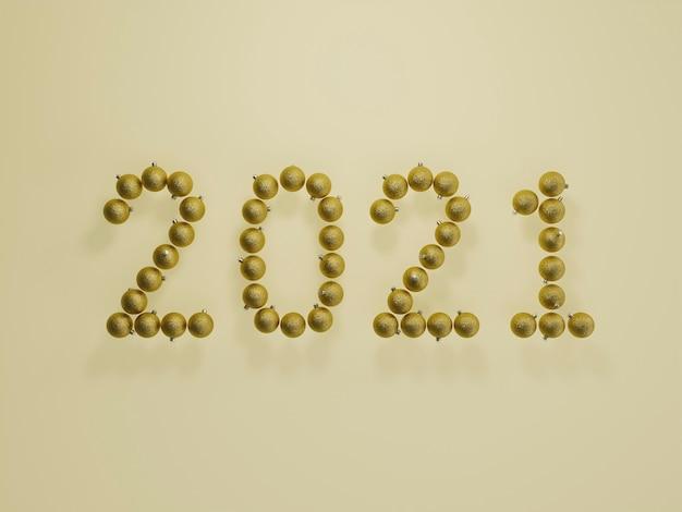 2021 wykonane z bombek choinkowych