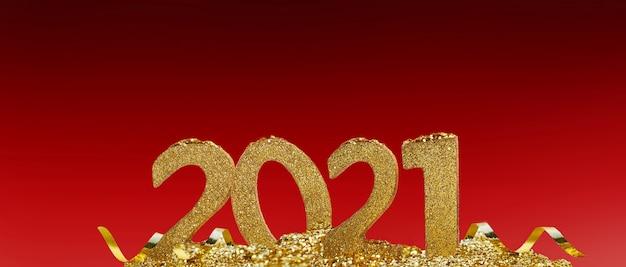 2021 złote cyfry stojące na wstążce i błyszczące na czerwono