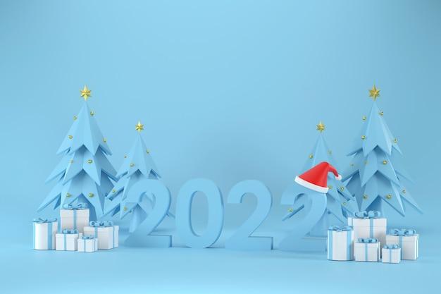 2022 czcionka santa claus hat gift box choinka na boże narodzenie i nowy rok na czarnym tle