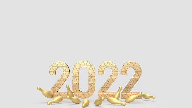 2022 i złota szpilka w kręgle do renderowania 3d koncepcji biznesowej lub wakacyjnej