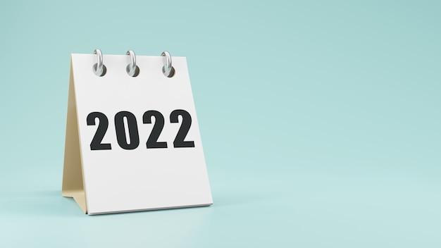 2022 na papierowym kalendarzu biurkowym renderowanie 3d