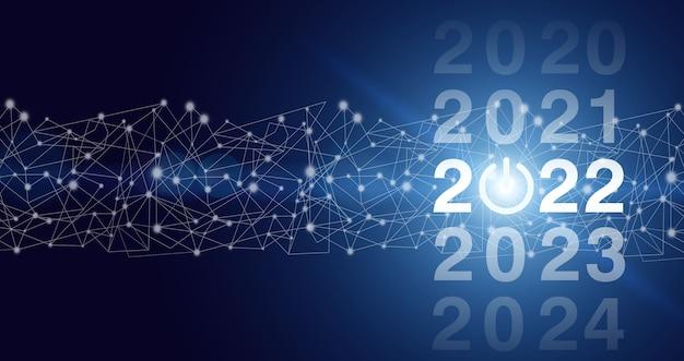 2022 nowy rok. koncepcja rozpocznij nowy rok 2022. rok dwa tysiące dwadzieścia dwa koncepcja. szczęśliwego nowego roku 2022 - nowy rok, cel, plan, działanie