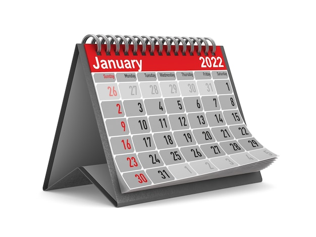 2022 rok. kalendarz na styczeń. izolowana ilustracja 3d