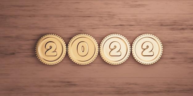 2022 rok ze złotymi monetami na drewnianym stole do przygotowania wesołych świąt i szczęśliwego nowego roku koncepcji przez renderowanie 3d.