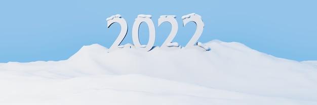 2022 szczęśliwego nowego roku i wesołych świąt bożego narodzenia tło z opadami śniegu na górze
