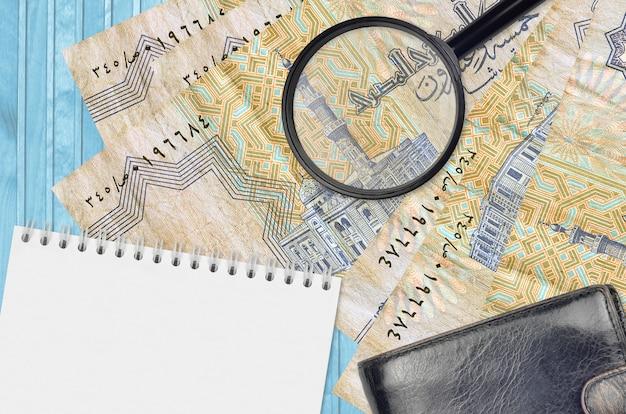 25 egipskich rachunków piastrowych i lupy z czarną torebką i notatnikiem
