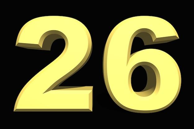 26 dwadzieścia sześć cyfr 3d niebieski na ciemnym tle