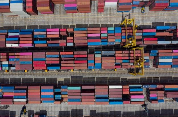 27 czerwca 2021 laem chabang, chonburi tajlandia widok z lotu ptaka terminale kontenerowe, import eksport wysyłka