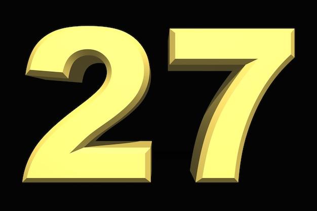 27 dwadzieścia siedem numer 3d niebieski na ciemnym tle