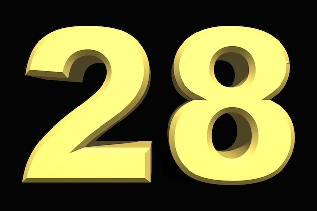 28 dwadzieścia osiem cyfr 3d niebieski na ciemnym tle