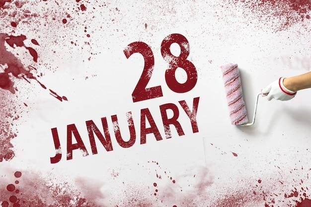 28 stycznia. 28 dzień miesiąca, data kalendarzowa. ręka trzyma wałek z czerwoną farbą i pisze datę w kalendarzu na białym tle. miesiąc zimowy, koncepcja dnia roku.