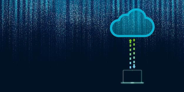 2d ilustracja przetwarzania w chmurze, sieć bezprzewodowa przechowywanie w chmurze, technologia przetwarzania w chmurze internet koncepcja tło