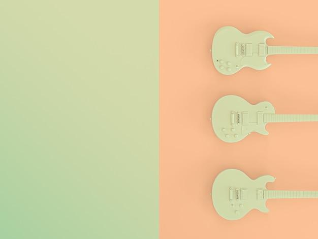 3 gitary elektryczne na dwukolorowym tle. renderowanie obrazu 3d.