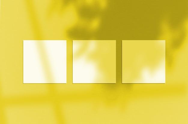 3 kwadratowe plakaty makieta rozświetlający kolor pantone roku 2021.
