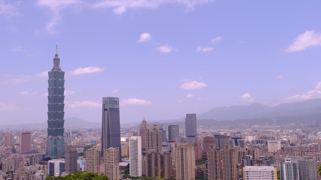 3 maja 2019 r.: panorama miasta w tajpej, tajpej na tajwanie.