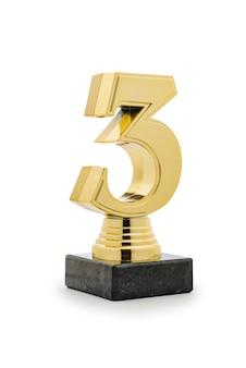 3 miejsce runners up złote trofeum na białym tle
