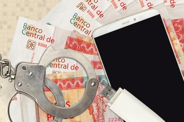 3 peso kubańskie wymienialne rachunki i smartfon z policyjnymi kajdankami