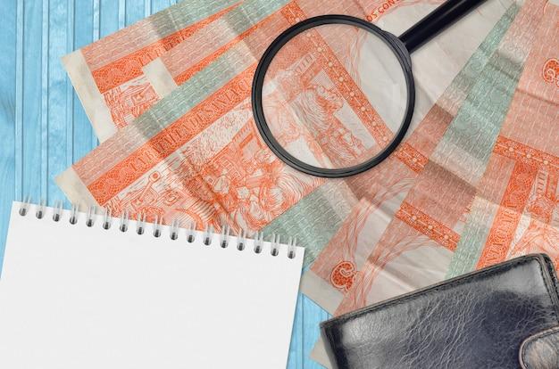 3 peso kubańskie wymienialne rachunki i szkło powiększające, czarna torebka i notatnik