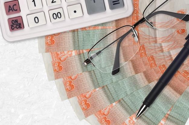 3 peso kubańskie wymienialne rachunki, wentylator i kalkulator, okulary i długopis
