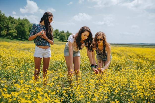 3 piękna dziewczyna hippie w polu żółte kwiaty