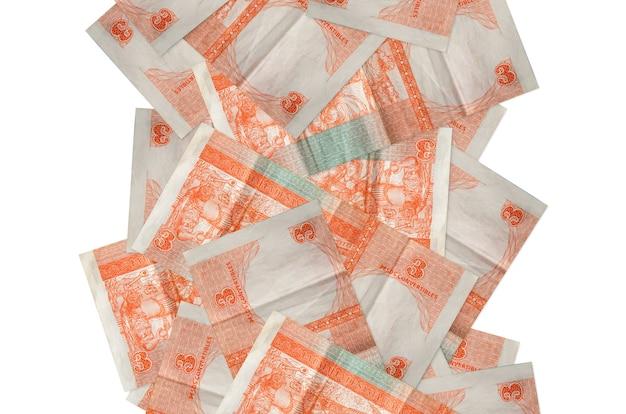 3 rachunki wymienialne peso kubańskie pływające w dół na białym tle. wiele banknotów spada z białą przestrzenią na kopię po lewej i prawej stronie