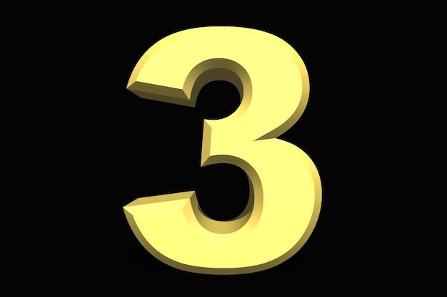 3 trzy liczby 3d niebieski na ciemnym tle