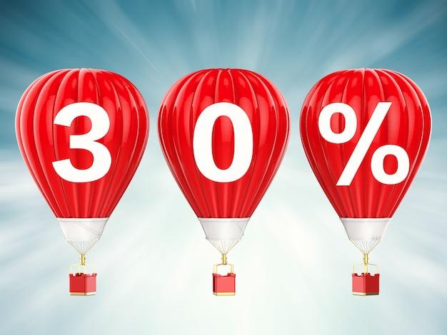 30% znak sprzedaży na renderowaniu 3d czerwonych balonów na gorące powietrze