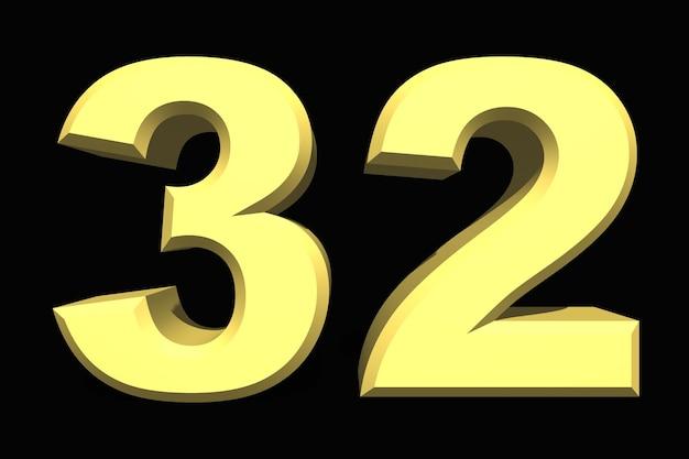 32 trzydzieści dwa numer 3d niebieski na ciemnym tle