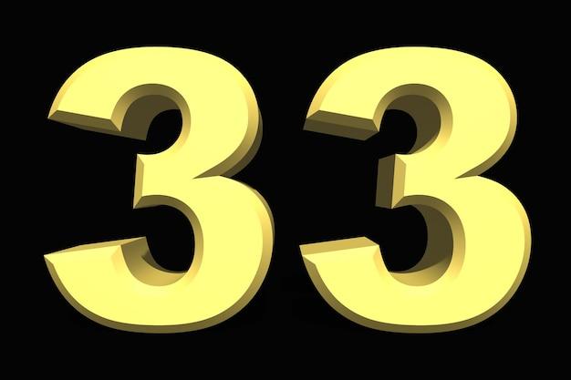 33 trzydzieści trzy numer 3d niebieski na ciemnym tle